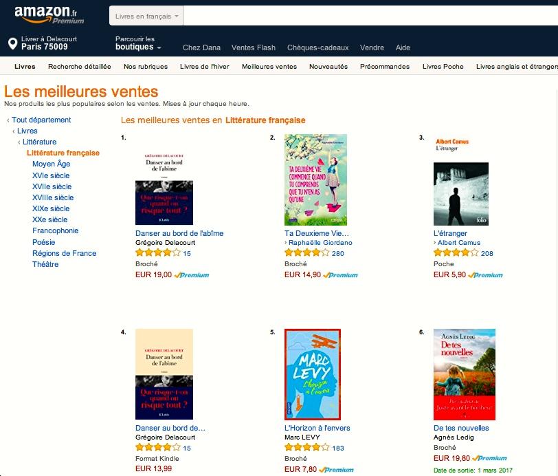 Numéro 1 sur Amazon